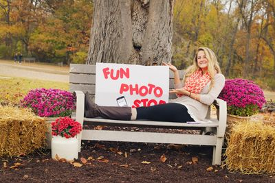community park, event, fun day, family, photo booth, free, Huntertown, bench, woman