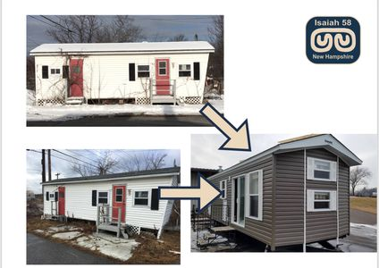Help us transform this old mobile home on the left into one that looks like the oner on the right.