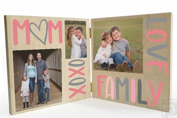 mother's day gift, Gift for Mom, Mom, Mama, Mother, Family, Wooden Photo Board, Bi-Fold photo print
