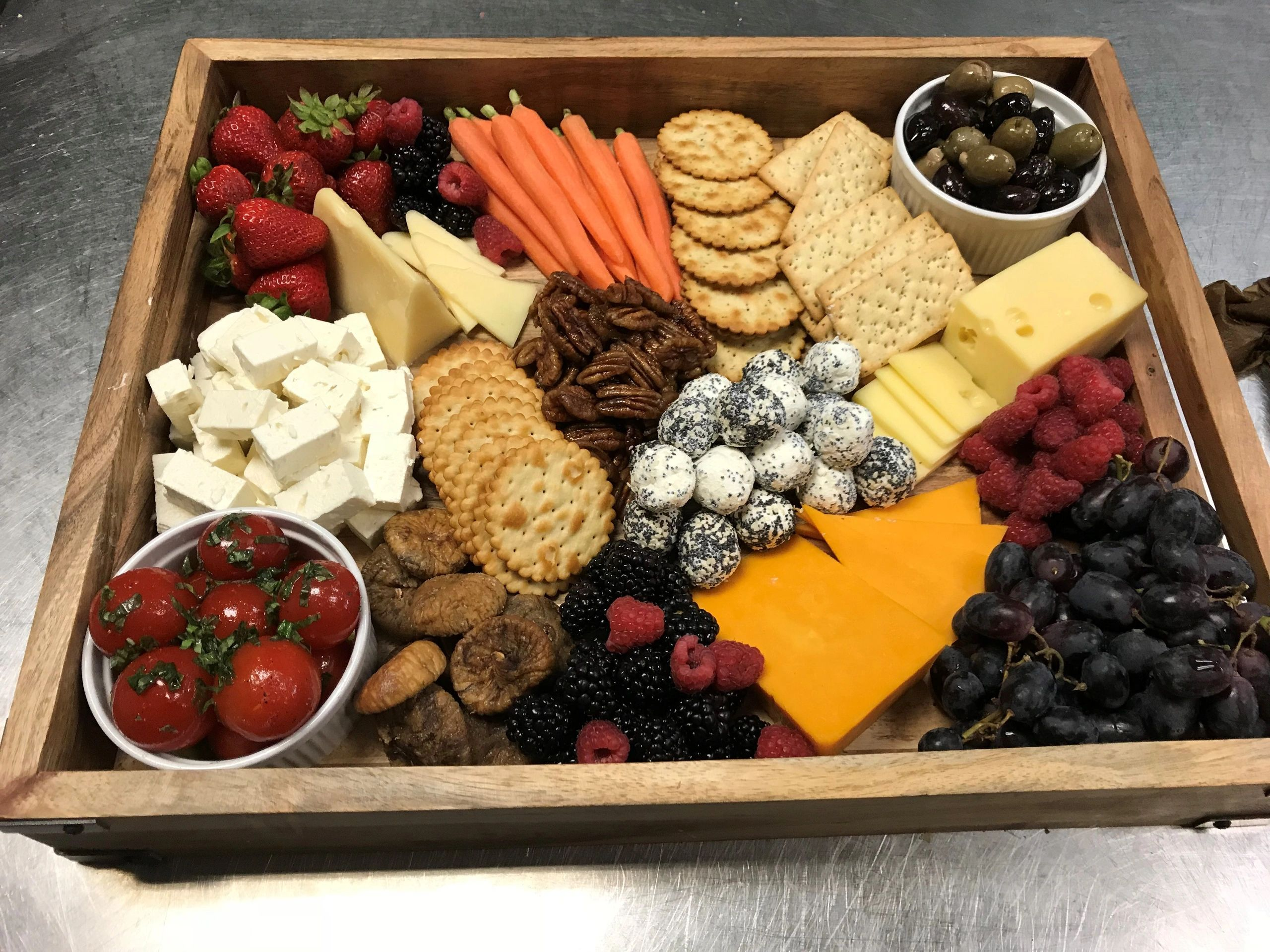 Cold vegetable, cheese and fruit appetizer tray