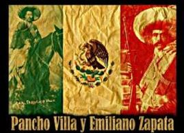 An image of the Mexican flag with the portraits of Pancho Villa and Emiliano Zapata superimposed.