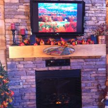 Happy Trails Log Cabin hand carved mantle