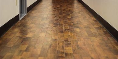Commercial resilient flooring in a hallway