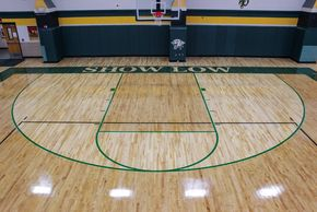 Wood floor basketball court install in Show Low, AZ