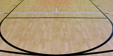 Commercial resilient flooring for a basketball court