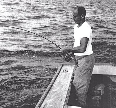 Bill's Dad Fly Fishing for Tuna off Manasquan  in 1959