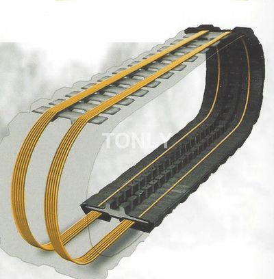 Quality rubber tracks with heavy tread and thick, continuous steel bands