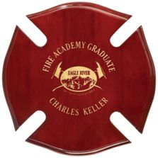 Red fireman's cherry wood plaque with gold lettering