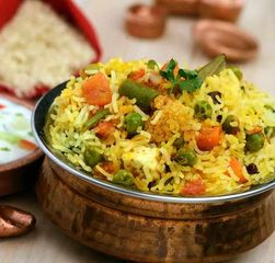 Vegetable, mix rice, herbs and biryani spices