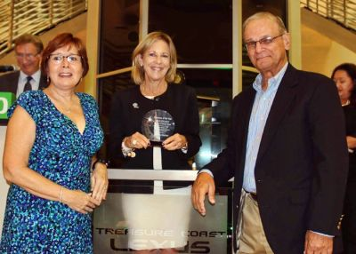Julie and Bob receiving the award for the Best Non-Profit Business from the Chamber of Commerce