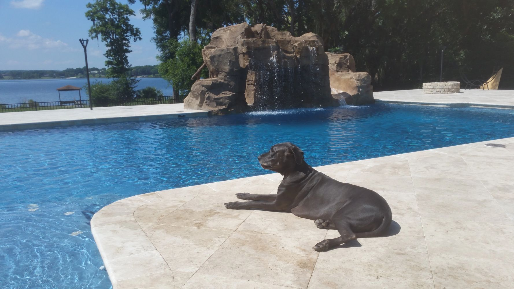 25'x 45' Gunite pool with travertine decking, grotto with tidal pool and slide, Great Dane optional.