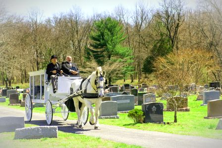 Horse drawn hearse driving through the Medford NJ Cemetery to the grave site for the interment.