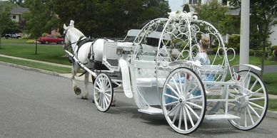 Cinderella Carriage with a Princess passenger pulling up to  a home for a Princess Party