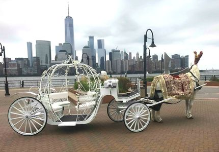 Decorated white horse pulls a Cinderella Carriage on the pier at Jersey City Hilton