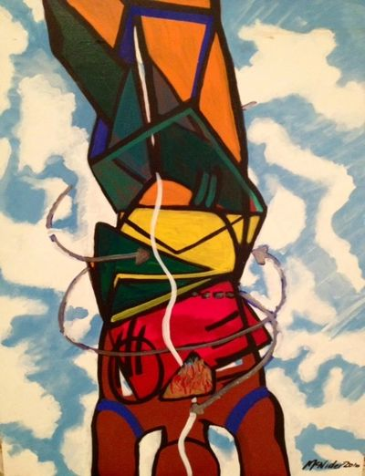 "Urban Yogini, acrylic on canvas, 24x30"" -- $650"