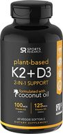 Vitamin K2 + D3 with Organic Coconut Oil  | 2-in-1 Support for Your Heart, Bones & Teeth