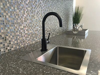 kitchen fixtures, countertops, cabinets, and backsplash remodel and installation