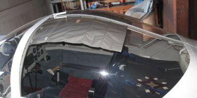 The Koger Sunshade built for, and installed on an RV Regular Slider canopy.