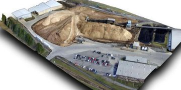 Stockpile measurements with Cloud Data UAV Services.