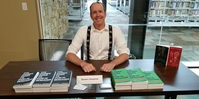 "Dr. Steven Vrooman at the Seguin Public Library's ""Meet the Author,"" where he spoke about his book."