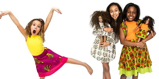 Girls wearing African print dresses