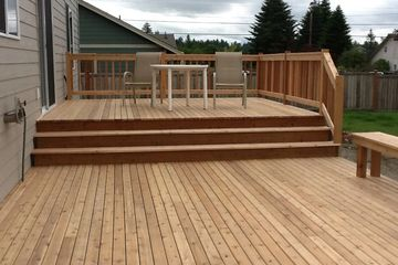Custom designed wood deck with benches and standard rail