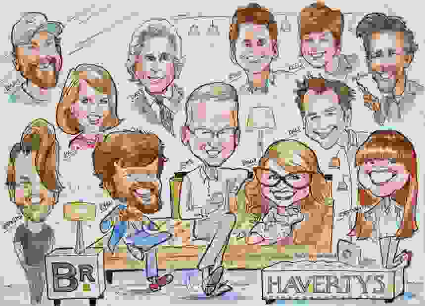 CARICATURE GROUP DRAWING FROM PHOTOS.