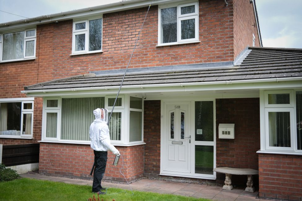 Pest control technician treating a wasp nest at a house.