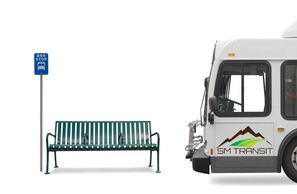 SM Transit public transportation bus with bus stop sign and bench