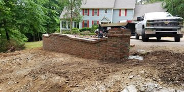 Retaining wall installation in Raleigh, NC