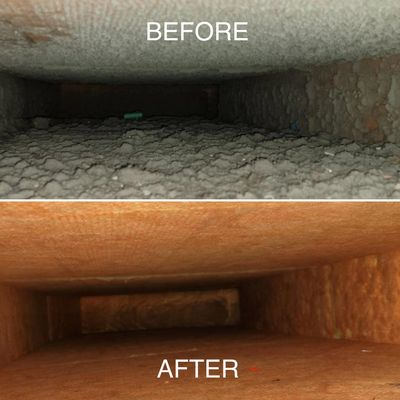 Before and after picture of air duct cleaning