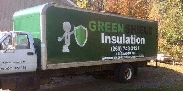 Greenshield Insulation blown in cellulose residential insulation attic spray foam.