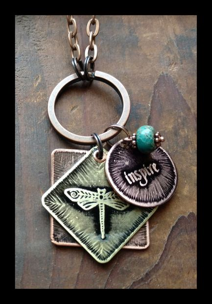 Dragonfly and Inspire word charm necklace with jasper bead