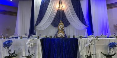 head table backdrops, curtains, pipe & drape, draping, by Bay City Events