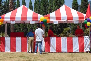 Carnival Tents 10'x10' Pop ups Red and White, Bay Area Carnival Rentals