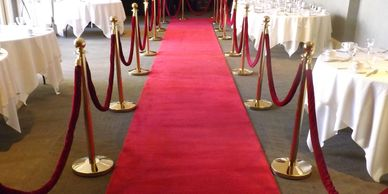 red carpet rentals, stanchions, red carpet galas