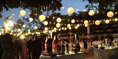 outdoor event lighting, up lights, dj lighting, disco lighting, monograms, gobo lighting