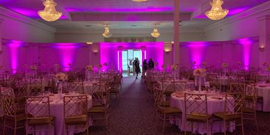 room up-lighting, ambient lighting, uplights, special event room lighting