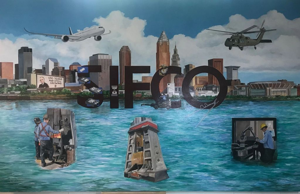 Sifco Industries , Cleveland, Ohio, mural  depicting the foundry, for the 100th Anniversary .