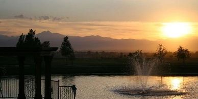 Wedding Outdoor Dance Reception Ceremony Bridal Suite Venue Colorado Mountain Longmont Boulder Denver Ft Collins Loveland Reception Dinner Golf Club Sunset Water Lake Fountain