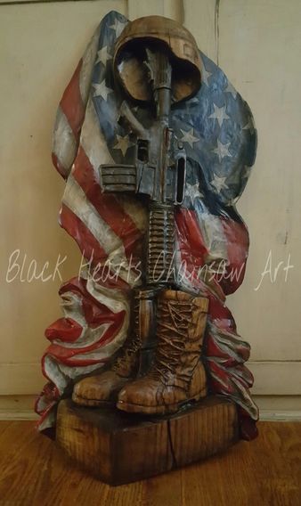 Battle Cross Sculpture by Black Hearts Chainsaw Art - Wood Carving Soldiers Memorial