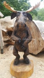Standing Caricature Moose Chainsaw Carving - wood carved Moose - fun moose