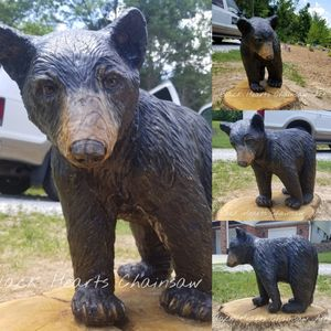 Walking Black Bear Cub sculpture - chainsaw carving hand carved statue