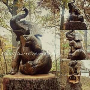 Wood Elephand Sculpture Hand Carved sitting elephant Chainsaw Carving near St Louis Missouri