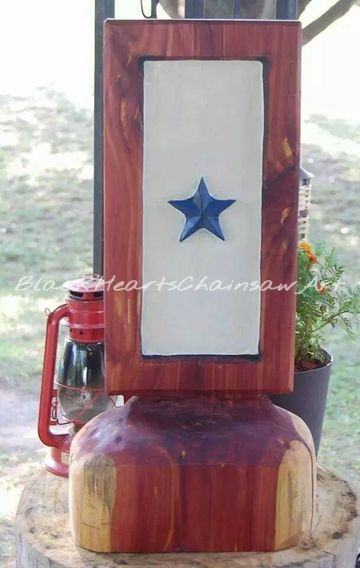 Wooden Hand Carved Service Flag honoring our Military during times of War