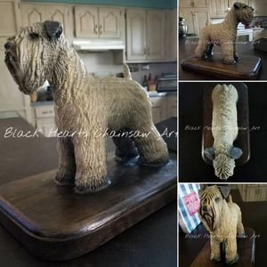 Hand Carved Soft Haired Wheaten Terrier sculpture by Black Hearts Chainsaw Art - Wood chainsaw