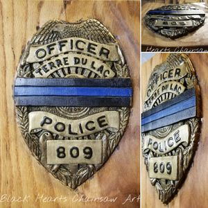 Fallen Officer Badge - Thin Blue Line - Hand carved Police Offiver plaque Wall hanger Wooden
