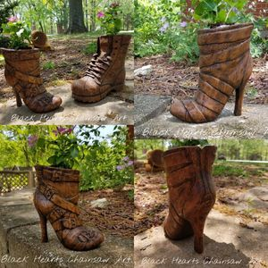 Hand carved wooden shoe planter - mens work boot womans high heel boot - shoe sculpture