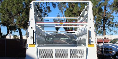 a frame racks on a weldco chassis-mounted glass rack