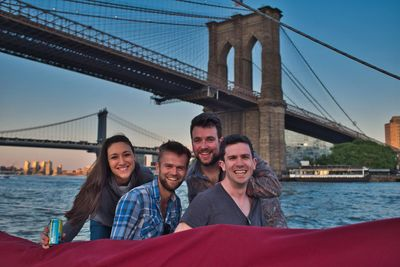 All smiles underneath the Brooklyn Bridge!